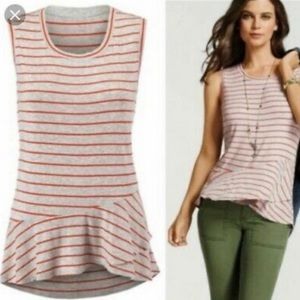 CAbi striped tank with ruffle hem, grey & red, SM